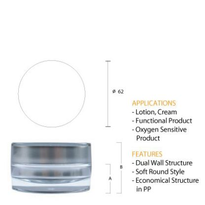 J04 Acrylic Round Silver Jar