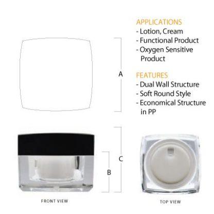 K02 Acrylic Square Jar Black Top