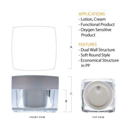 L02 Acrylic Square Jar Silver Top